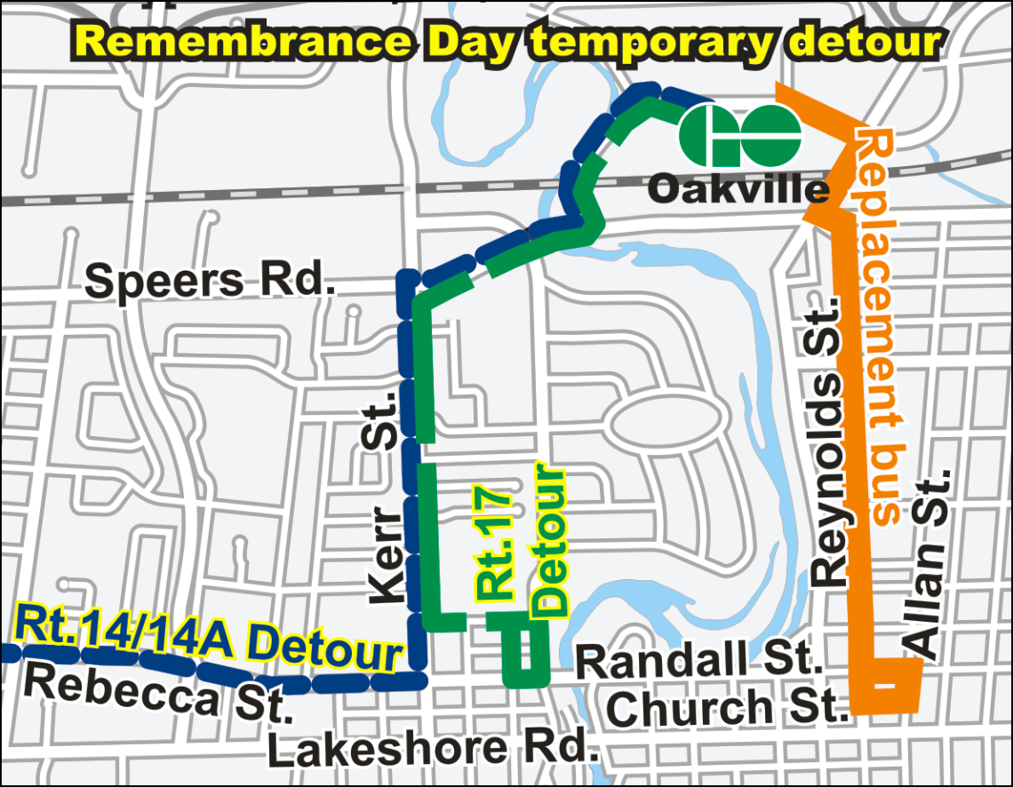 Remembrance Day detour route map