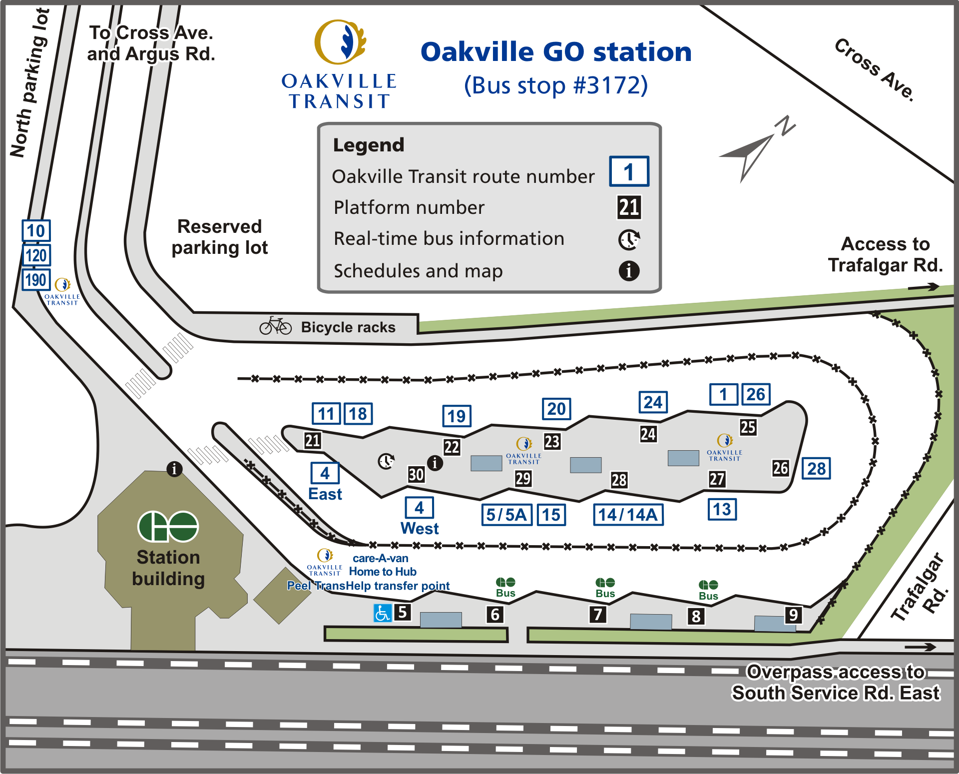 Oakville GO station map