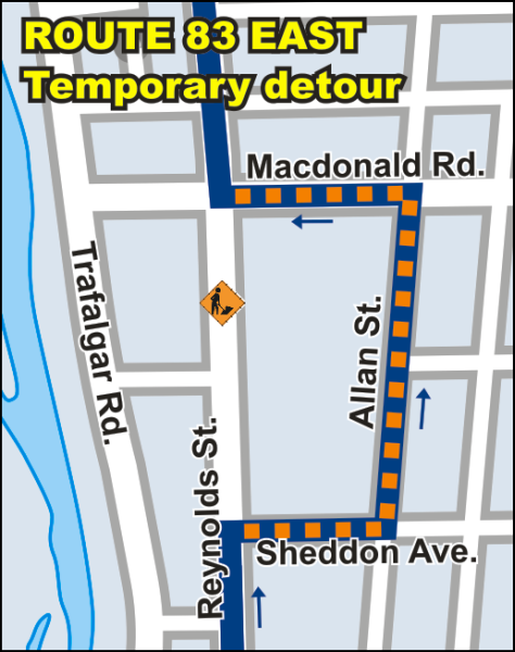 Route 83 Blakelock East temporary detour map