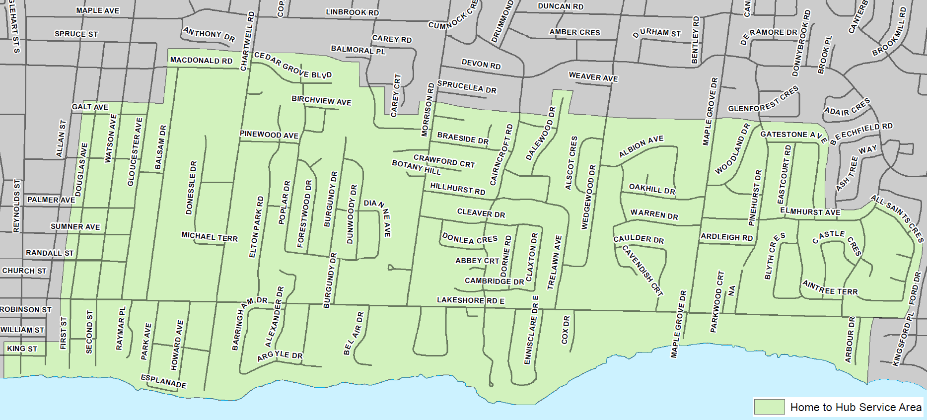 Southeast Oakville service area map