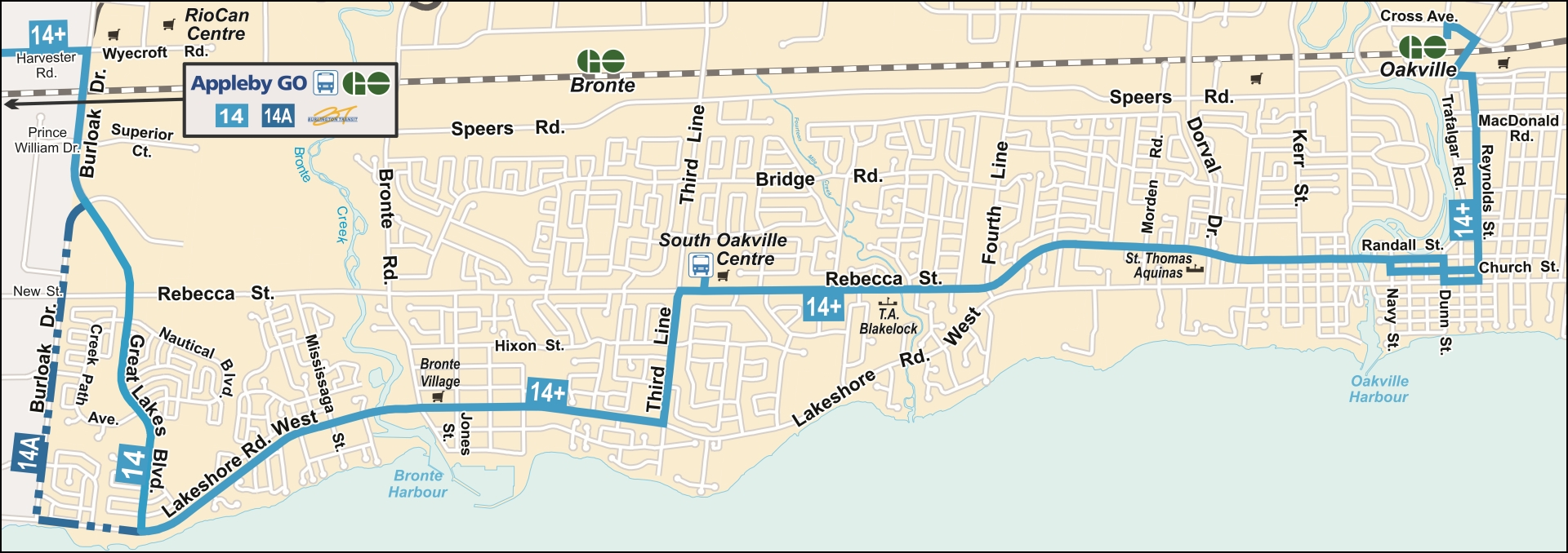 Route 14 and 14A route map