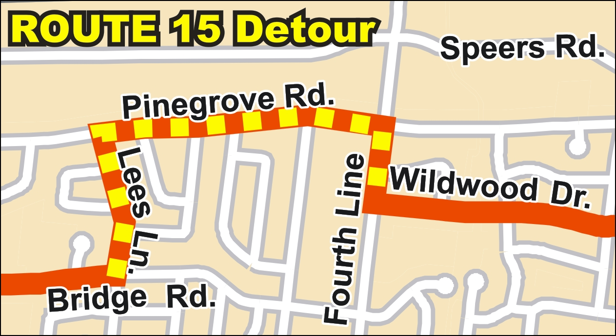 Route 15 detour map