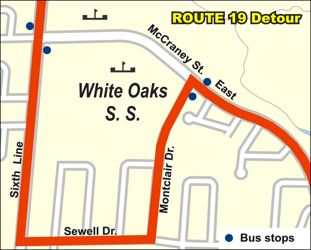Route 19 temporary detour map