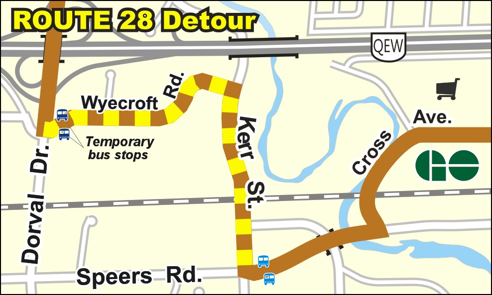 Route 28 detour map