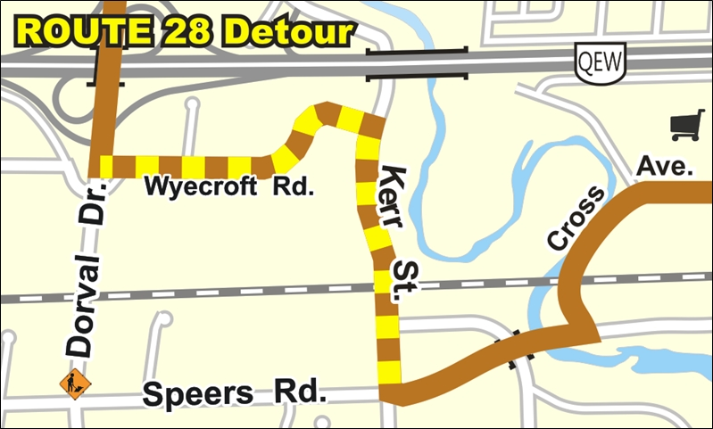Route 28 temporary detour map