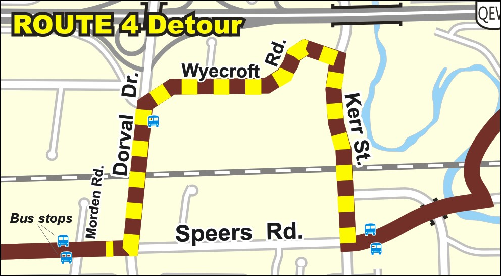 Route 4 detour map