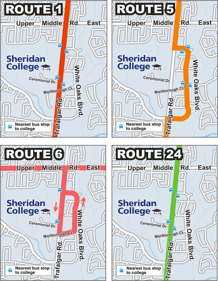 Detour route maps for Routes 1, 5, 6 and 24 in the event of a strike.